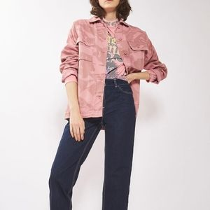 TOPSHOP Pink Camouflage Button Down Shacket